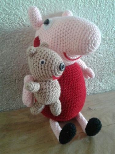Peppa pig y su osito teddy amigurumi patrón libre. (con imágenes ... | 500x375