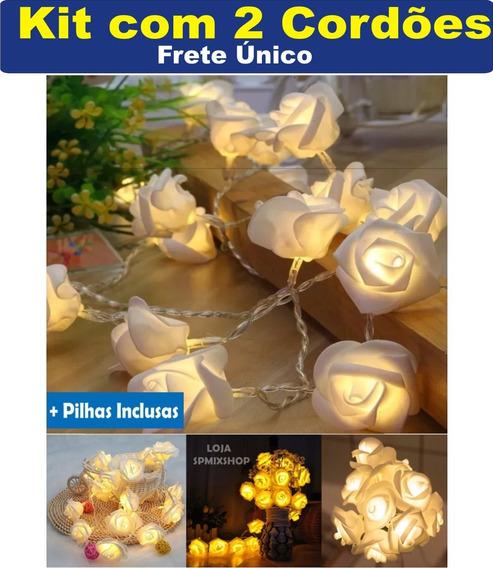 Kit Com 2 Cordão De 10 Rosas Branca Led Luminárias + Pilhas