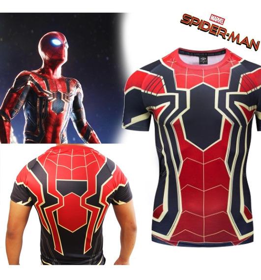 Playera Gym Lycra Spiderman Iron Spider Disfraz Manga Corta