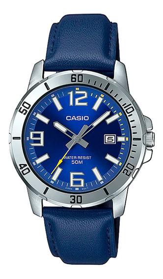 Relógio Masculino Casio Prata E Azul Data Pulseira De Couro