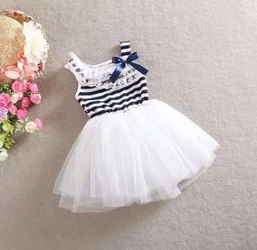 Vestido Listrado Tule Bebê Menina