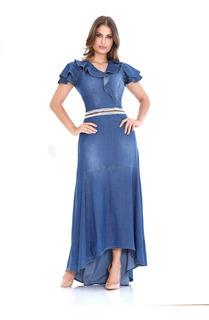 Vestido Feminino Jeans Longo Sol Da Terra Evangelica Moda