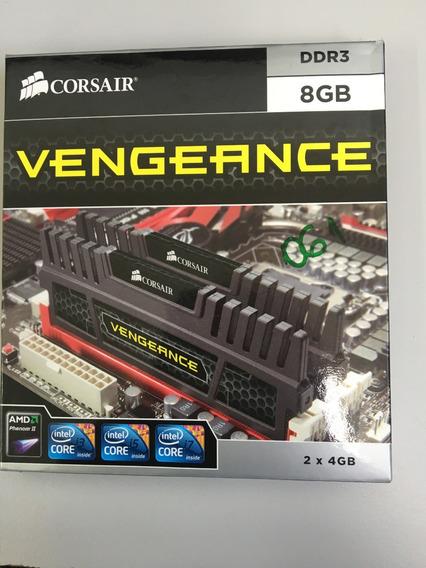 8gb Memória Ram Ddr3 1600mhz Corsair Vengeance Preta 2x4gb