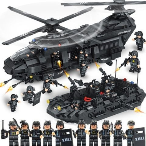 Bloco Montar Equipe Swat Helicóptero Barco Lancha 1351 Peças