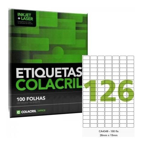 Etiqueta Adesiva A4 Ca4349 26 X 15 Mm 100 Folhas Colacril