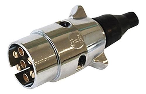 Imagem 1 de 2 de Tomada Engate Em Alumínio Cromada - Macho 7 Polos