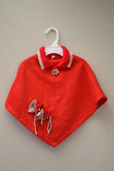 Poncho Rojo Y Beige - Talle U