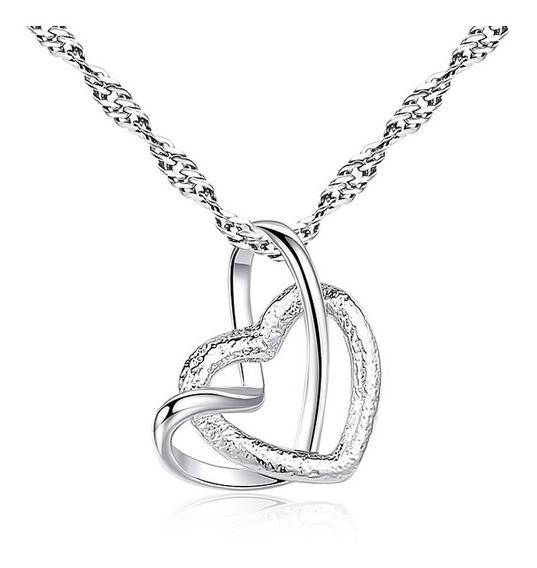 Colar Cordão Coração Duplo Namorados Romântico Amor