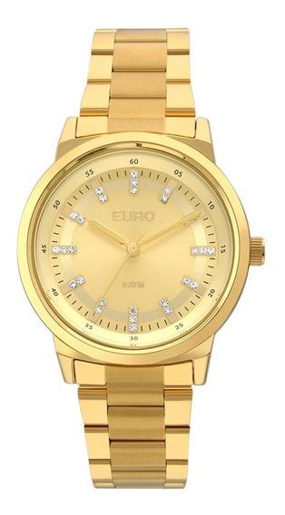 Relogio Feminino Dourado Euro Strass Original A Prova Dagua Com Garantia De Fabrica E Nota Fiscal Eu2036ylf/4d