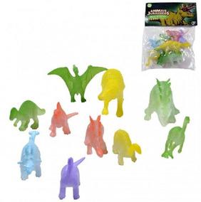 Kit Brinquedo Miniatura Dino Dinossauros Brilham No Escuro