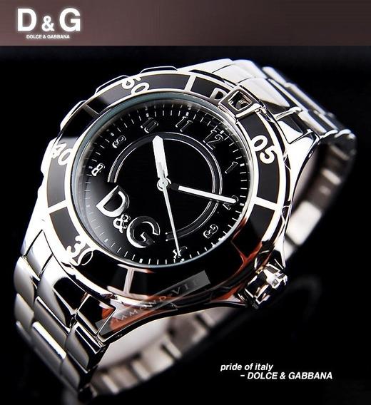 Relógio Masculino Original Dolce & Gabbana Dg Prata Preto