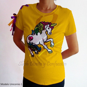 Plus Playera Unicornio Amarre Multicolor Algodon Lentejuela