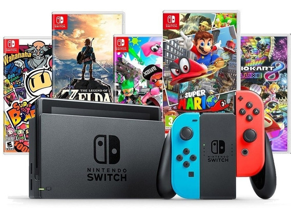 Nintendo Switch Neon C\ 4 Joycons + 2 Jogos + Pelícu + Grips