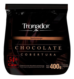 Chocolate Cobertura Semiamargo Tronador 400 Grs Alpino - Cc
