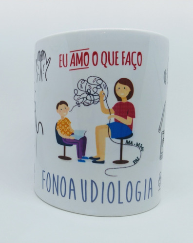Caneca Personalizada Profissão Fonoaudiologia - Fonoaudióloga - Fonoaudiólogo