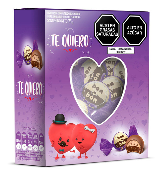 Caja Ventana Corazón Chocolinas 75g - 5 Unidades