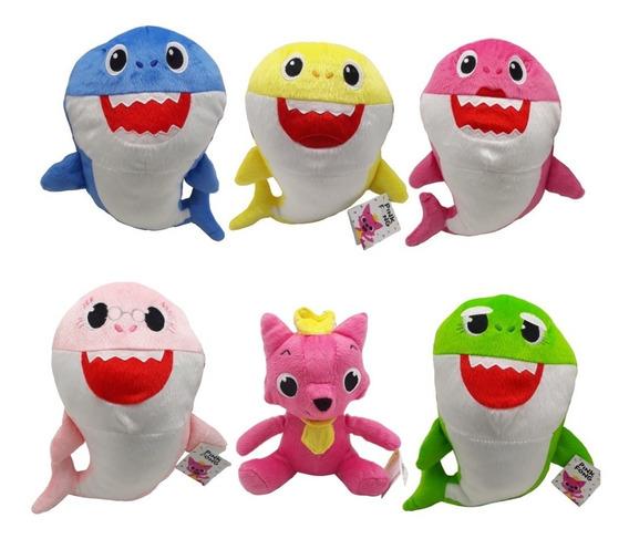 6 Pelúcia Baby Shark Tubarão Mamãe Papai Vovó Vovô Pinkfong