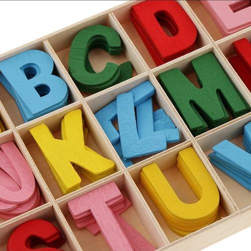 Abecedario Madera 130 Letras A Color +aprendizaje +didáctico