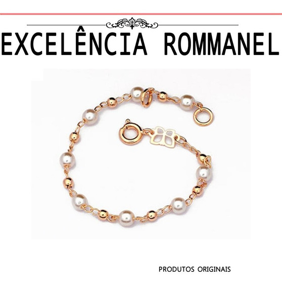 Pulseira Rommanel Infantil Bebe Menina 12/14cm Perola 550883