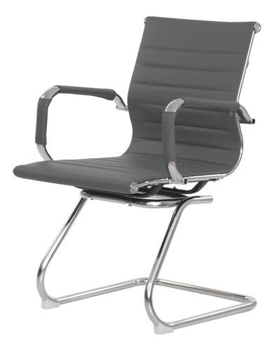 Cadeira Escritório Interlocutor Stripes Fixa Pu Cinza