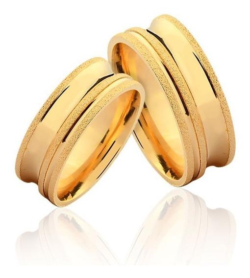 Par De Alianças De Casamento Ravena Em Ouro Amarelo 18k