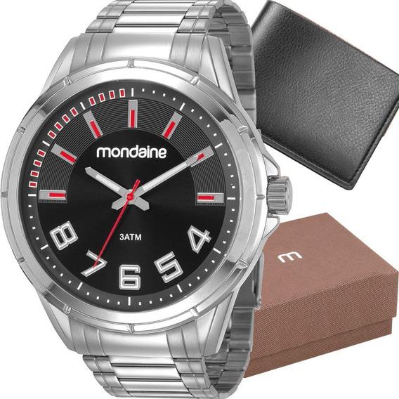 Relógio Masculino Mondaine Analógico Anadigi Pulseria De Aço Original Luxo + Carteira De Brinde Promoção Com Nota Fiscal