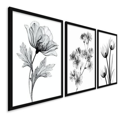 Quadros Decorativos Quarto Sala Moldura Folhas Minimalista
