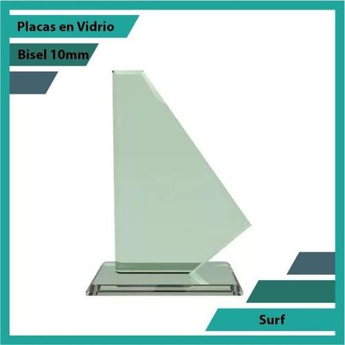 Placas Conmemorativas En Vidrio Surf Plano