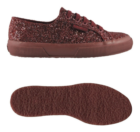 Zapatillas Superga 2750 Macroglitter Bordo