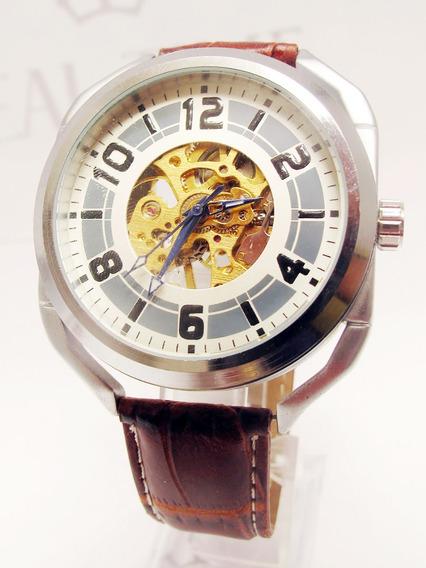 Reloj Skeleton Semiautomático Café Acero Piel Envío Gratis