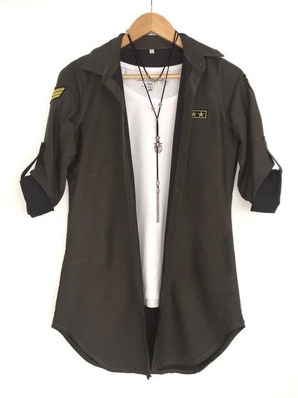 Camisa Militar Larga Aplique. Camisa Blanca Negra Y Simil Jean Lisa