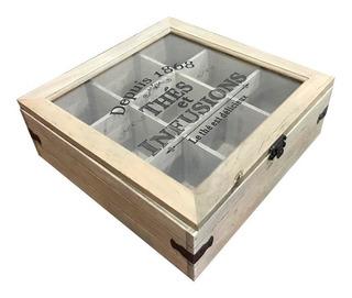 Caja De Madera Para Te Con Divisiones 23x23 Vintage (pz)