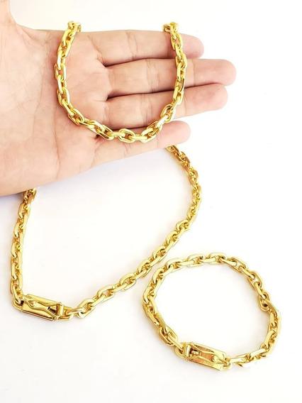 Cordão Cadeado 8mm Com Pulseira Banhado A Ouro Masculino