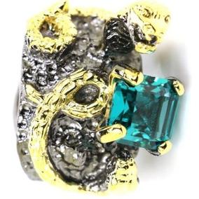 Anel Em Prata C/banho De Ouro Negro E Cristal Verde Água.