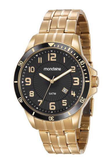 Relógio Mondaine Masculino Dourado Luxo Original 78758gpmvda