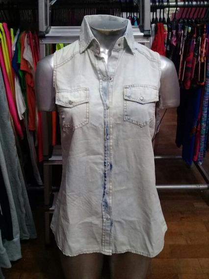 Camisa De Jean Sin Mangas Para Damas