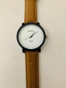 Relógio Quartz Feminino Pulseira Couro Sintético 5 Cm Marrom