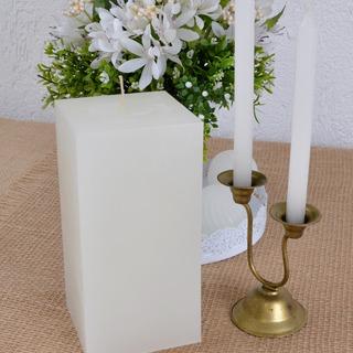 Vela Pilar Quadrada Branca 9,5x9,5x19,5cm