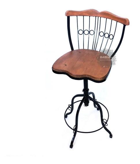 Cadeira Banco Banqueta Bistro Rustico Ferro Madeira Bar