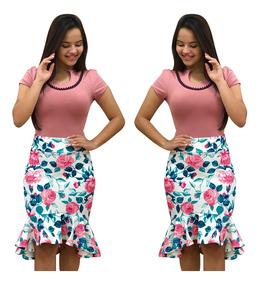 3ea11a1bdb2 Moda Elegante Casual Con Volantes Estampado Falda Para Mujer