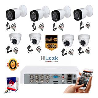 Kit Hikvision Hilook Dvr 1080 8 Ch + 8 Cámaras Seguridad