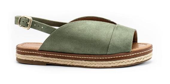 Sandália Em Camurça Suede Com Sola De Corda Bebecê