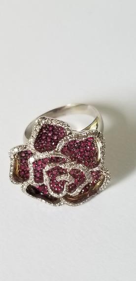 Anel Flor Ouro Branco 18 K 750 Com Rubi Natural E Diamantes