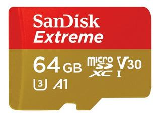 Memoria Micro Sd 64 Gb Sandisk 4k U3 V30 Extreme Tienda Ofic