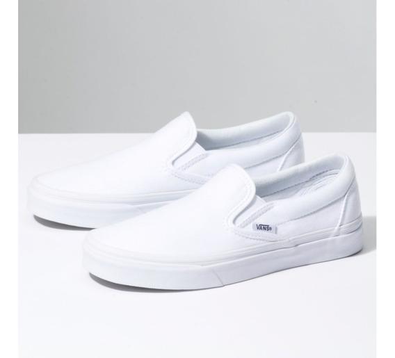 Tenis Casuales Urbanos Slip On 100% Originales Vans Blanco