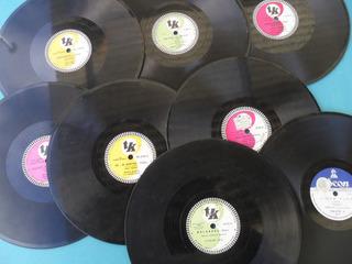 Lote 8 Disco Antiguo Musica Brasileña Pasta 78 Rpm Vitrola