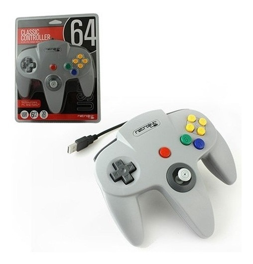 Controle Nintendo 64 N64 Cinza Retrolink Usb Para Pc Ou Mac