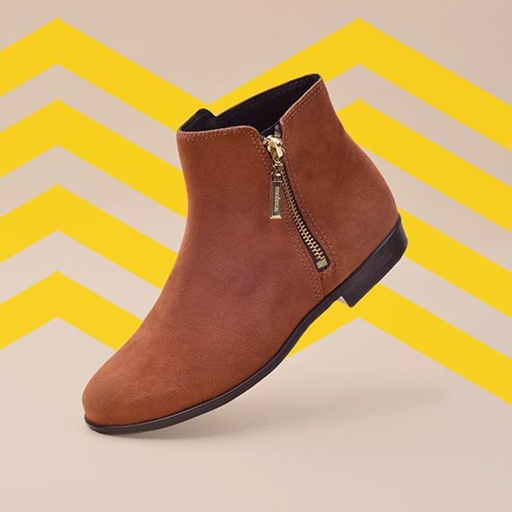 Bota Moleca Ankle Boot Caramelo
