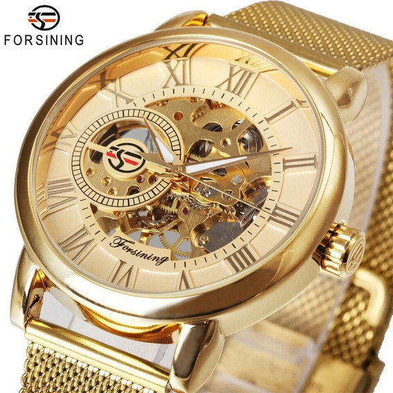 Relógio Forsining Madri Esqueleto Dourado