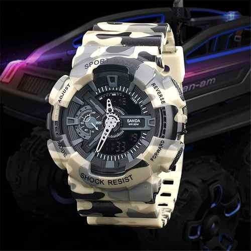 Relógios Masculino Militar Camuflado Barato S Chock Analogic